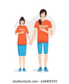 Group of Volunteer workers holding hands together, vector illustration