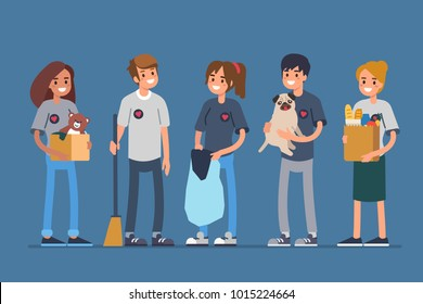 Group volunteers standing together. Flat style vector illustration isolated.
