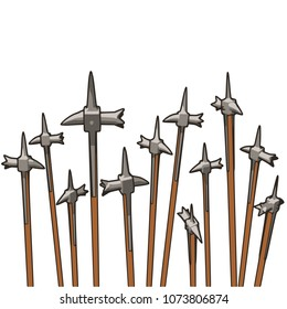 A group of warhammers pointing to the sky.