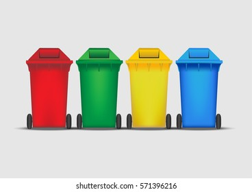 Group waste bin with wheel