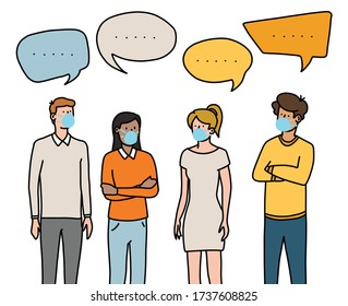 Group wearing face masks talking about current events. Hand drawn vector illustration. Bold lines and bright solid colours.