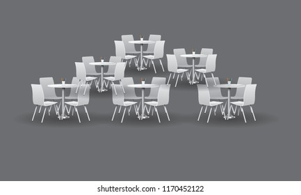 Group of White Modern round tables with chairs. Vector illustration.
