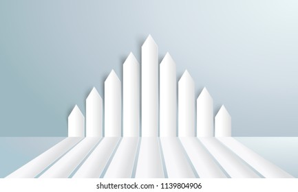 Group white paper arrows directed upwards - stock vector