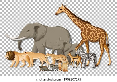 Group of wild African animals on transparent background illustration