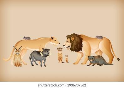 Group of wild animal on background illustration