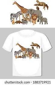 Group of wild animals design for t-shirt illustration