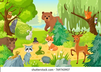 Group of wild animals on the fringe of the forest. Vector illustration in a cartoon style.