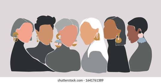 A group of women with big earrings. Sisterhood concept. Illustrations of 6 women with different skin colors staying close to each other