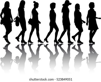 Group of women. Crowd of people silhouettes.