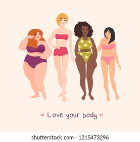 Group of women of different race, height, figure type and size dressed in swimwear and standing together. Female cartoon characters. Body positive movement and beauty diversity. Vector illustration.