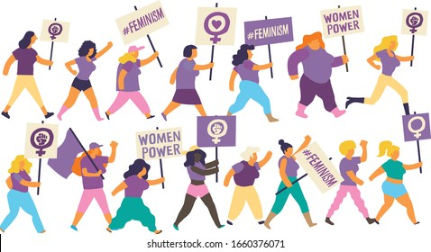 Group of women marching on a demonstration for International Women's Day. Feminist women carrying purple flags and placards with feminist and empowerment messages. Editable vector image
