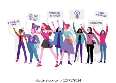 Group of women protesting and vindicating their rights holding banners and placards. Female march for rights. Woman power concept.