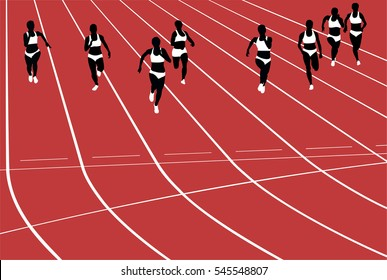 group women runners running sprints in stadium. black silhouette vector illustration