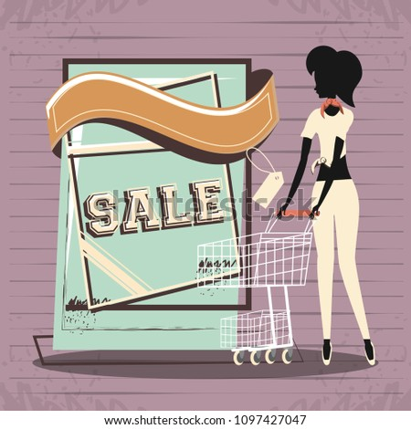 4715291324 Group Women Shopping Day Style Retro Stock Vector (Royalty Free ...