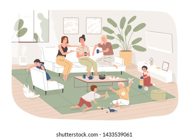 Group of women sit in cozy room, drink tea and talk to each other while their children play. Young moms spending time together at home. Friendly meeting. Flat cartoon colorful vector illustration.