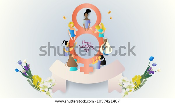 group of women with symbol and scroll,cute cartoon character,vector illustration,international women's day,for website banner,commercial,content head or presentation background,space for text
