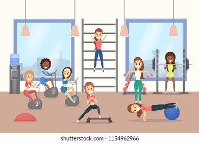 Group of women training in the gym. Lifting weight and doing aerobics exercices. Sport and healthy lifestyle. Vector flat illustration