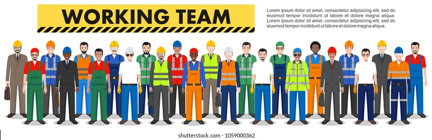 Group of worker, builder and engineer standing together in row in white background in flat style. Working team and teamwork concept. Different nationalities and dress styles. Design people characters.
