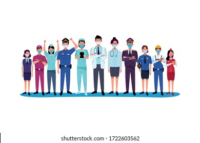 group workers using face masks for covid19 vector illustration design
