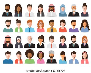 Group of working people, business men and business women avatar icons. Vector illustration of flat design people characters.