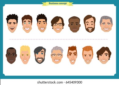 Group of working people, business men avatar icons.Flat design people characters.Business avatars set. Isolated vector on white. Face template for design work and animation.Smiling, black,businessman