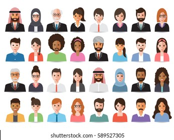 Group of  working people diversity, diverse business men and women avatar icons. Vector illustration of flat design people characters.