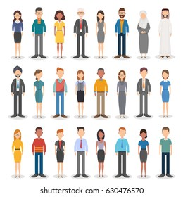 Group of working people diversity, diverse business men and business women standing on white background. Vector illustration of flat design people characters