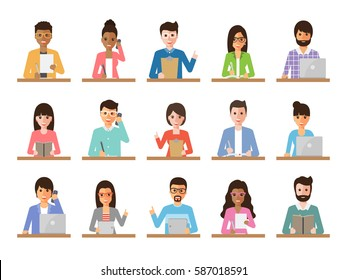 Group of working people diversity on white background. Diverse businessmen and businesswomen using laptop, tablet and smartphone. Vector illustration of flat design