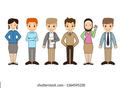 Group of working people standing characters with Different nationalities and dress styles in flat design style isolated on white background, vector illustration Eps 10.