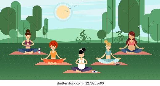 Group of yoga girls and young ladies meditating sitting on a pilates mat in the lotus position in a summer park on a grassy lawn