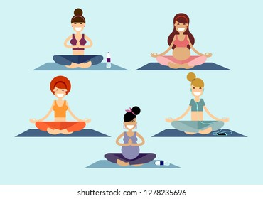 A group of yoga girls and young ladies meditates sitting on a pilates mat in a Sukhasana easy pose