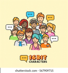 A group of young adult characters in 16-bit graphics. Vector illustration