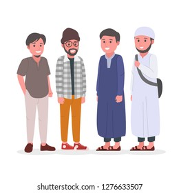 Group of Young Adult Muslim Man Vector Illustration