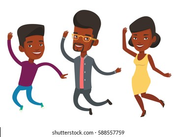 Group of young african-american friends jumping. Group of cheerful friends having fun and jumping. Friendship and lifestyle concept. Vector flat design illustration isolated on white background.