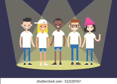 A group of young boys and girls representing different nations standing on the stage. Flat vector clip art illustration.