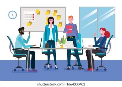 Grupo de jóvenes hombres y mujeres de negocios como reunión de trabajo en equipo alrededor de una mesa en la sala de conferencias.Concepto de trabajo en equipo. Ilustración vectorial.