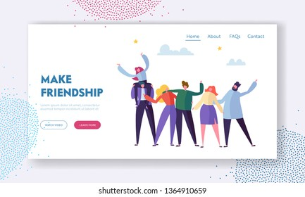Group of Young Cheerful People Rejoice Waving Hands and Embracing, Friendship Concept, Men and Women Spend Time Together, Warm Human Relations Landing Page for Website Cartoon Flat Vector Illustration