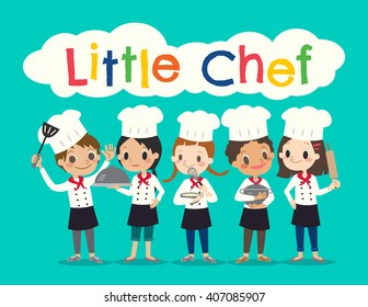 group of young chef children kids cartoon vector illustration