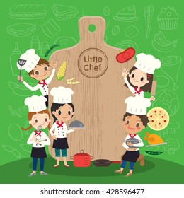 group of young chef with chopping block children kids cartoon vector illustration