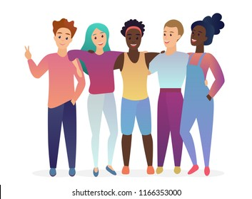 Group of young five happy posing, hugging and talking friends. People together. Friendship. Trendy gradient color vector illustration.