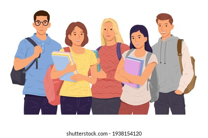 Group of young girls and boys students holding books on white background. Happy teenager in casual clothes. Vector illustration