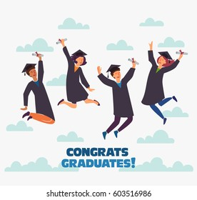 Group of young graduates with diploma jumping on white background with copy space. Stylish modern vector illustration with happy male and female teenagers.  Graduation concept