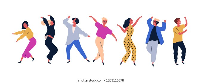 Group of young happy dancing people or male and female dancers isolated on white background. Smiling young men and women enjoying dance party. Colorful vector illustration in flat cartoon style.