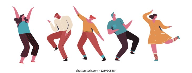 Group of young happy dancing people or male and female dancers isolated on white background. Vector illustration flat design. Use in Web Project and Applications.