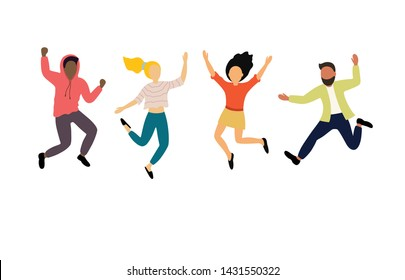 Group of young happy dancing people or male and female dancers isolated on white background. Smiling young men and women enjoying dance party. - Shutterstock ID 1431550322