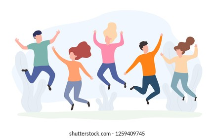 Group young happy friends jumping. Boys and two girls rejoice life. Vector illustration. Flat design. EPS 10.
