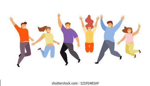 Group of young happy jumping people on white background. Modern vector illustration