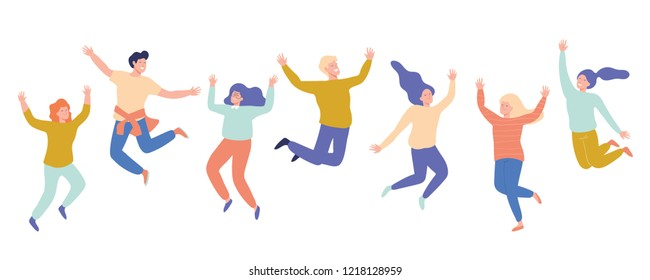 Group of young happy laughing people jumping with raised hands. Students. Vector flat cartoon illustration isolated on white background.