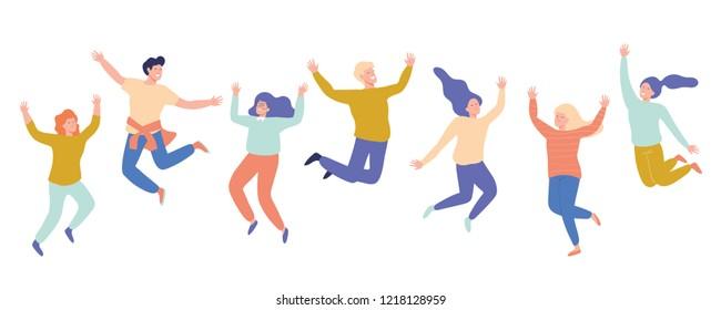 Gruppe von jungen glücklichen lachenden Menschen, die mit erhobenen Händen springen. Schüler. Vektorflache Cartoon-Illustration einzeln auf weißem Hintergrund.