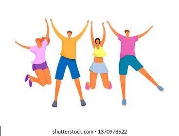 Group of young happy people. Boys and girls happily raised their hands up. Friends on summer vacation. Vector illustration.